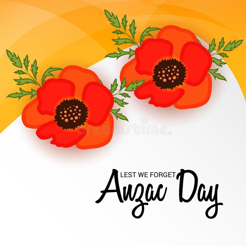 Anzac DayLest We Forget royaltyfri illustrationer