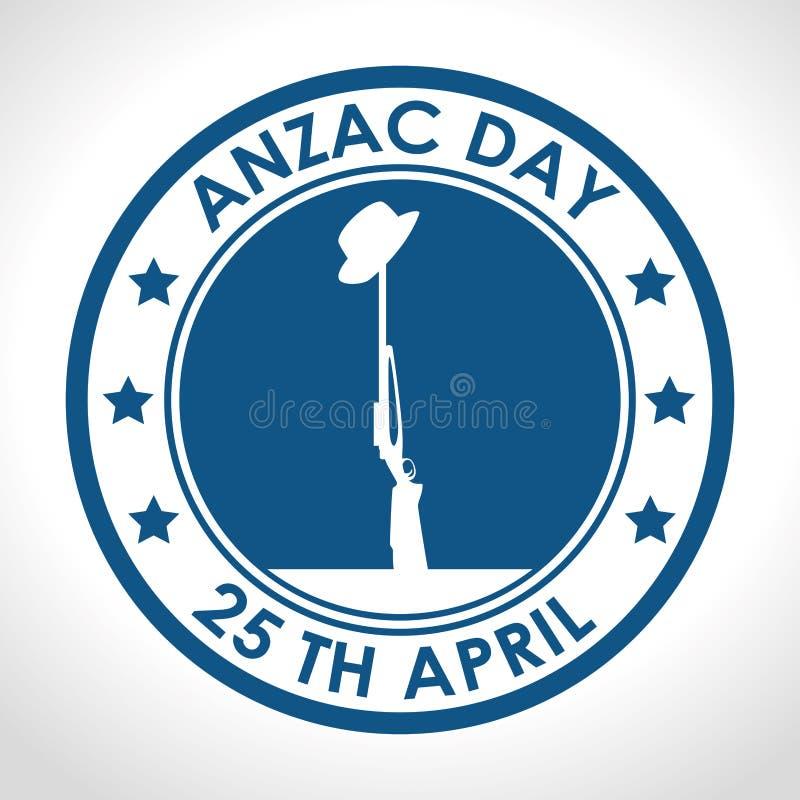Anzac dia logotipo do 25 de abril ilustração do vetor