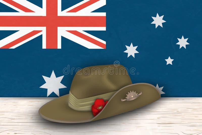 Anzac dnia maczków weteranów wojennych pamiątkowa rocznicowa wakacyjna pamięć Anzac dnia 25 Kwietnia wspominania dnia Australijsk ilustracja wektor