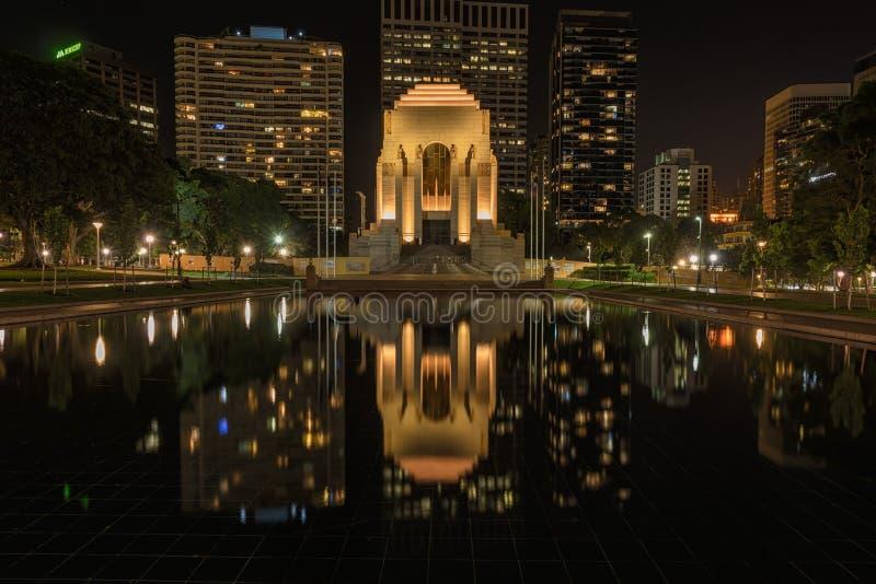 Anzac Hyde Pamiątkowy park w Sydney Australia przy nocą obrazy royalty free