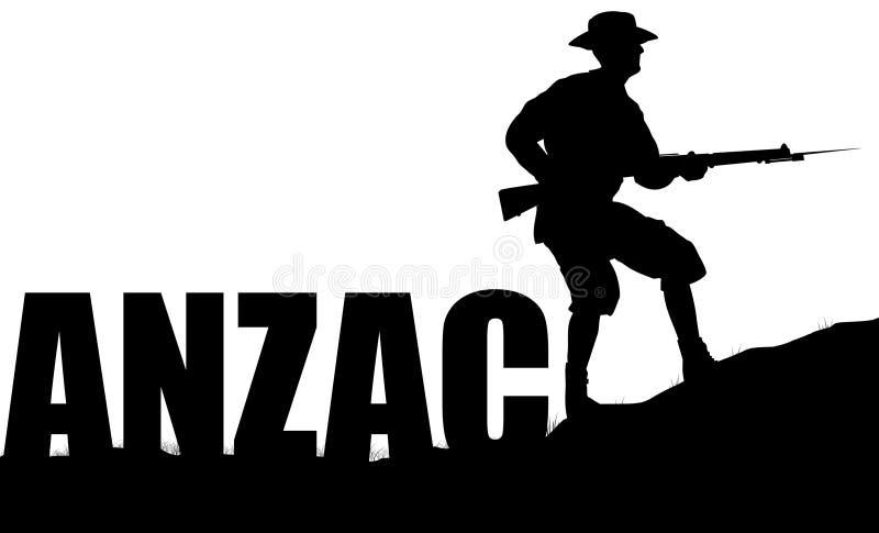 ANZAC-illustration av en solider stock illustrationer