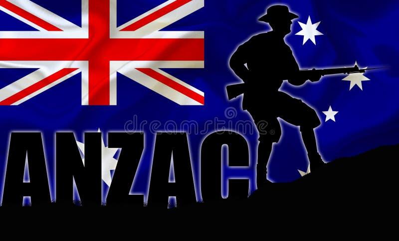 ANZAC-illustration av en solider royaltyfri illustrationer