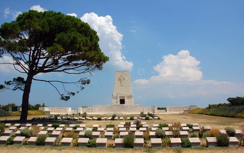 Anzac Memorial Gallipoli. Lone Tree Anzac memorial monument and cemetery for the thousands lost their lives during Gallipoli Campaign under British Empire stock image