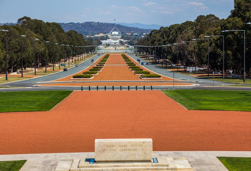 ANZAC Parade viewed from Australian War Memorial, Canberra, Australia. stock photos
