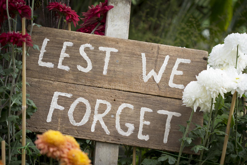 ANZAC Sign Lest We Forget photo stock