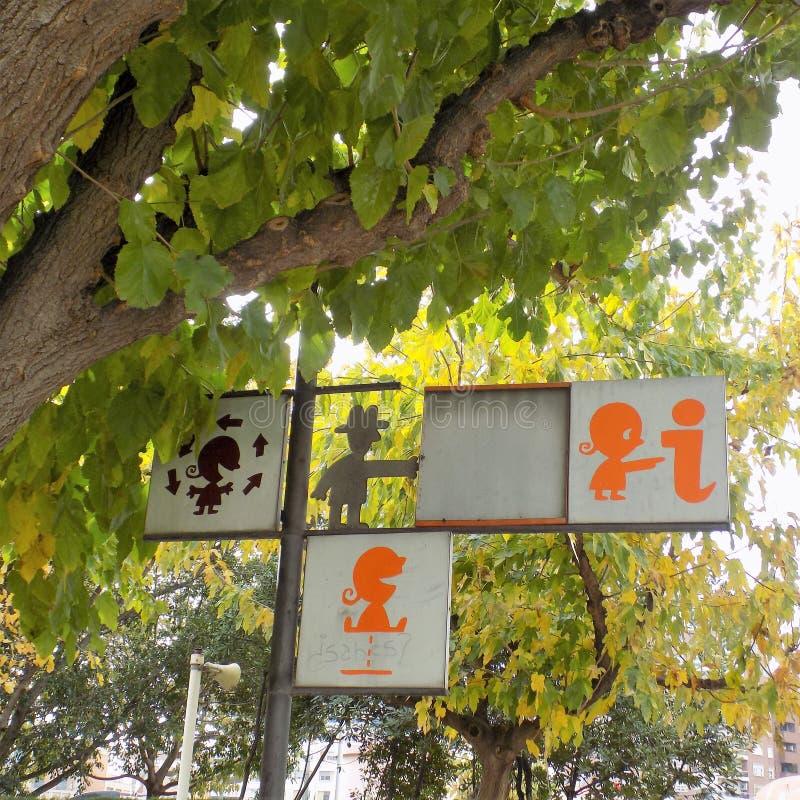 Anzeichenspielplatz Valencia stock abbildung