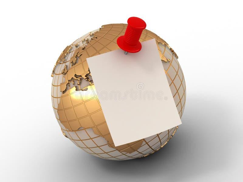 Anzeige. Blatt Papier auf Erde. stock abbildung