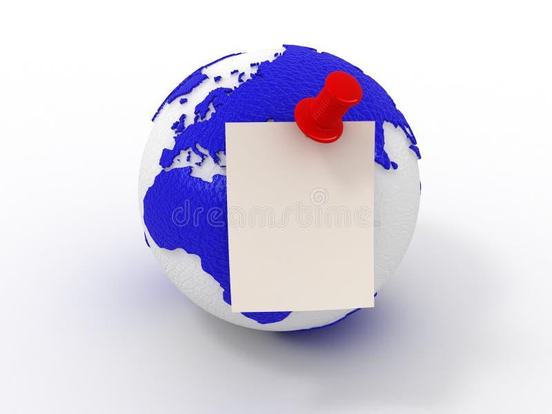 Anzeige. Blatt Papier auf Erde. lizenzfreie abbildung