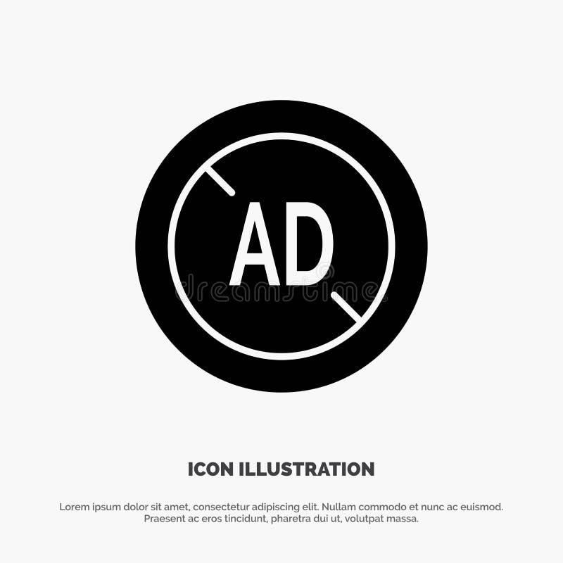 Anzeige, Blocker, Anzeigen-Blocker, Glyph-Ikonenvektor Digital fester vektor abbildung