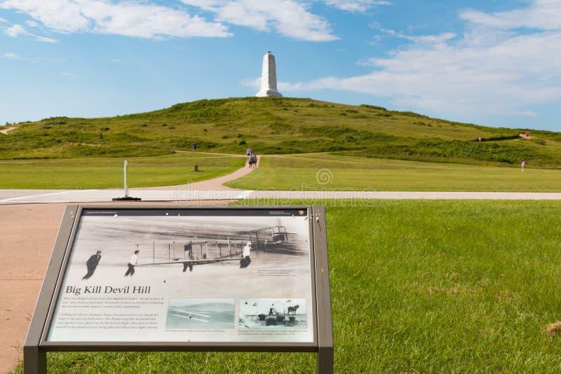 Anzeige für großen Tötungs-Teufel-Hügel und Wright Brothers Memorial lizenzfreie stockbilder