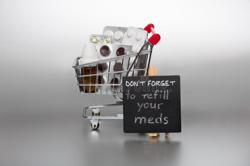 Anzeige, zum der meds wieder zu füllen lizenzfreies stockfoto