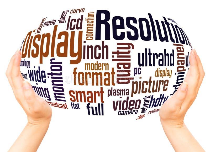 Anzeigen-Entschließungswortwolkenhandbereichkonzept lizenzfreie abbildung