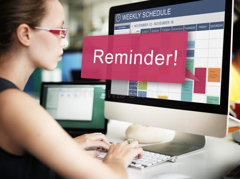Anzeigen-Kalender-Ereignis-Notiz-Anmerkungs-Planer-Konzept stockfotos