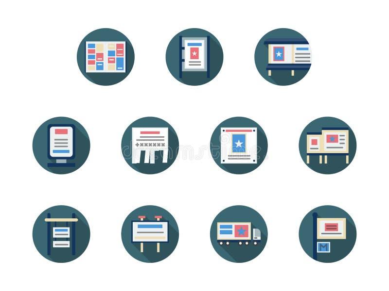 Anzeigen und runde flache Ikonen der Förderungsikonen stock abbildung