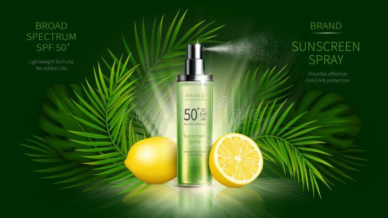 Anzeigenplakat des kosmetischen Vektors des Sonnenschutzes realistisches vektor abbildung