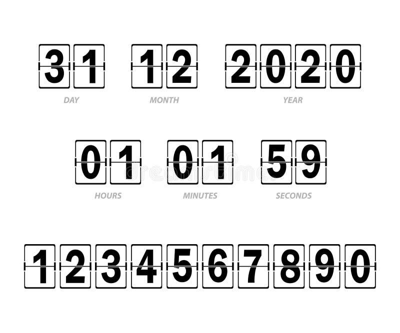 Anzeiger für Stunden, Minuten und Sekunden, Tag, Monat und Jahr vektor abbildung