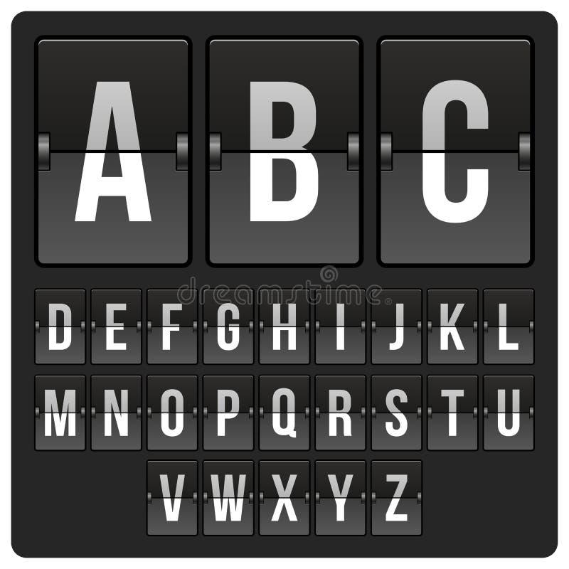 Anzeigetafel mit Alphabet stock abbildung
