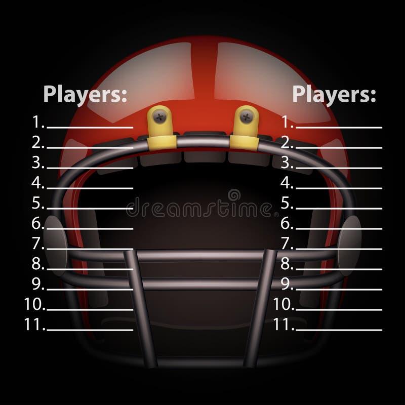 Anzeigetafel mit amerikanischem Football-Helm vektor abbildung