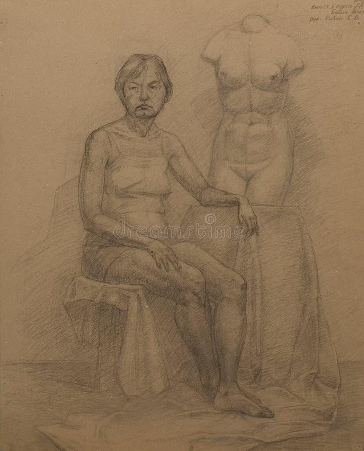 Anziana e torso Venus illustrazione di stock