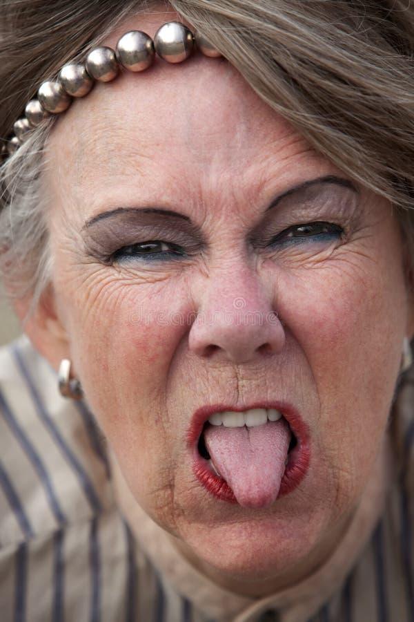 Anziana maleducata fotografie stock libere da diritti