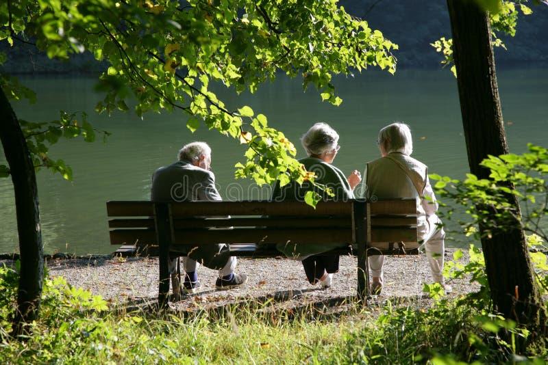 Anziani che comunicano nella sosta immagini stock
