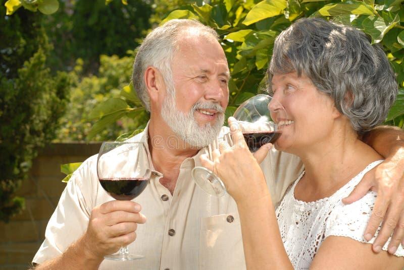 Anziani che sorseggiano vino immagini stock libere da diritti