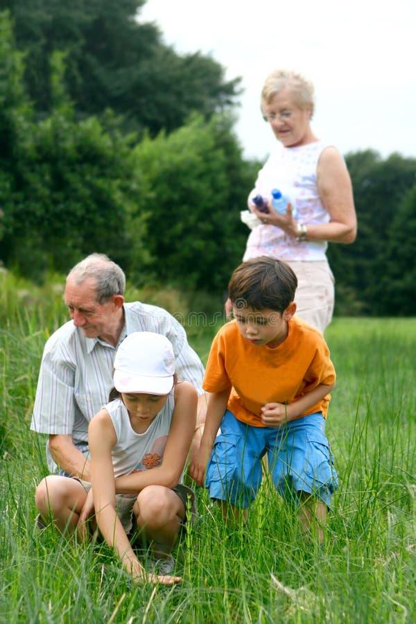 Anziani con i nipoti fotografia stock libera da diritti