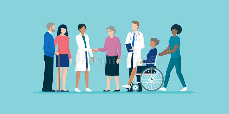Anziani con il gruppo dei badante e di medici professionisti royalty illustrazione gratis