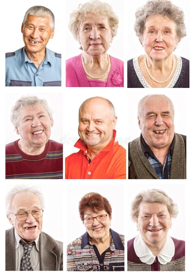 Anziani del collage di risata fotografia stock