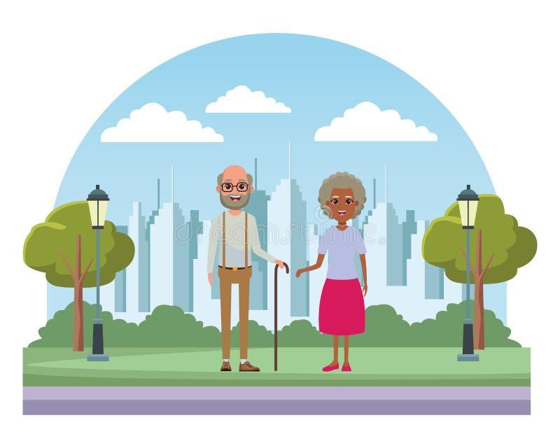 Anziani del personaggio dei cartoni animati dell'avatar illustrazione vettoriale