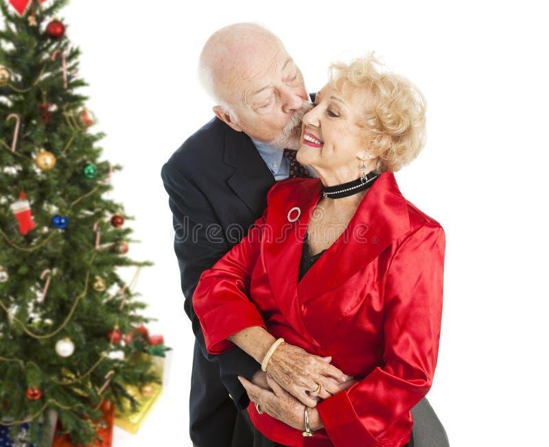 Anziani di festa - bacio di Natale fotografia stock