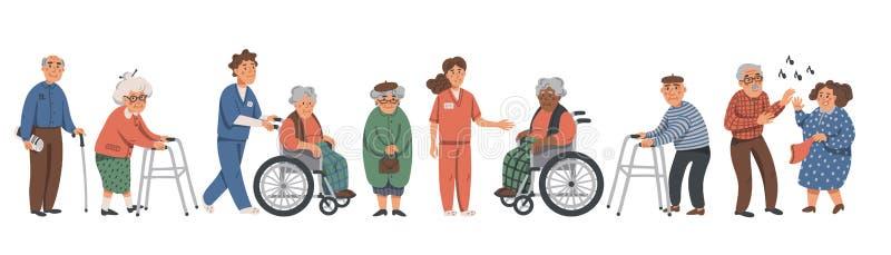 Anziani e assistenti sociali Nonni ed infermieri su un fondo bianco Illustrazione di vettore in uno stile piano royalty illustrazione gratis