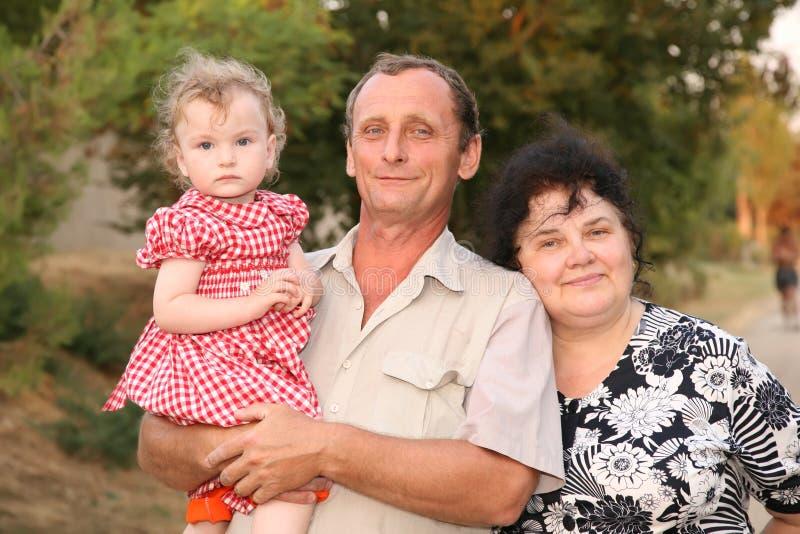 Anziani e nipote fotografia stock