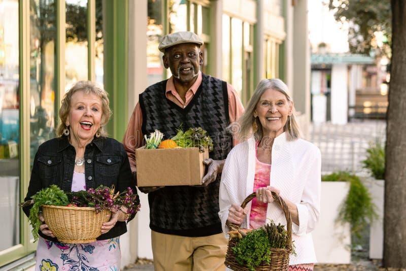 Anziani felici che ritornano dal mercato degli agricoltori con le drogherie fotografie stock libere da diritti