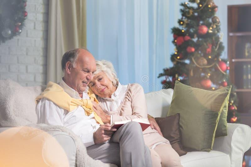 Anziani nel natale fotografia stock
