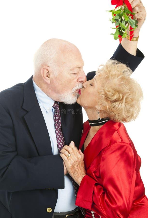 Anziani sotto il vischio fotografia stock libera da diritti