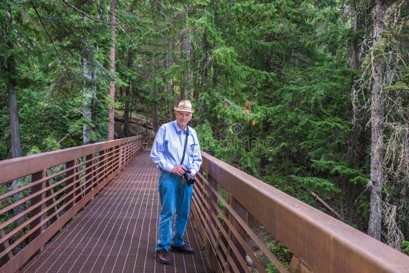 Anziano attivo che fa un'escursione all'aperto immagini stock