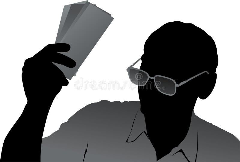 Anziano con l'illustrazione dei soldi illustrazione di stock