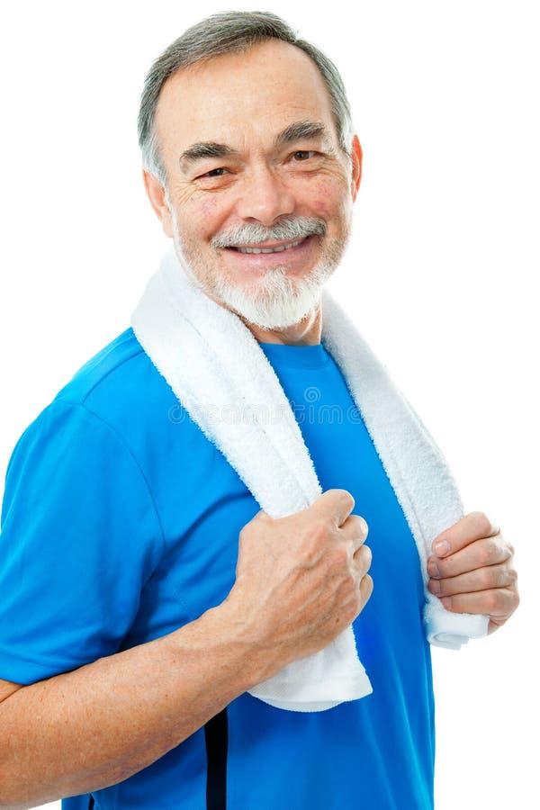 Anziano in ginnastica immagini stock