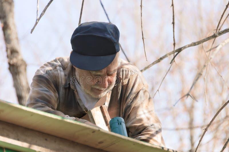 Anziano in una scala che incornicia il tetto fotografia stock libera da diritti