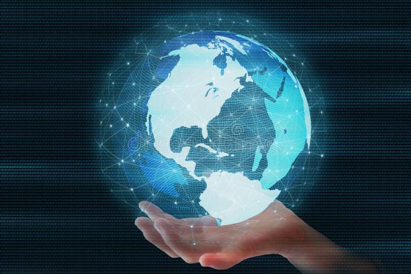 Anziehende sich schnell bewegende Welt Futuristischer Kugelbereich führte umgeben durch Verbindung des globalen Netzwerks lizenzfreie stockfotografie