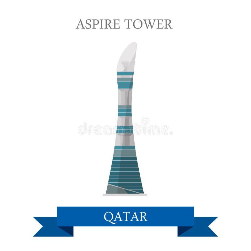 Anziehungskraft-Reisemarkstein Turm-Katar-Vektors streben flacher stock abbildung