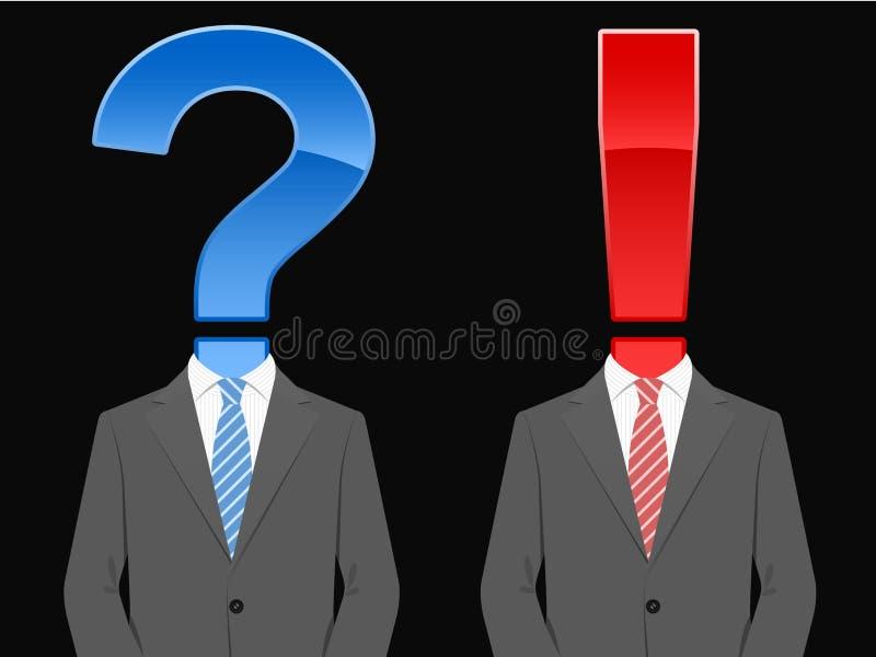 Anzug mit Frage und Ausrufsmarkierung vektor abbildung