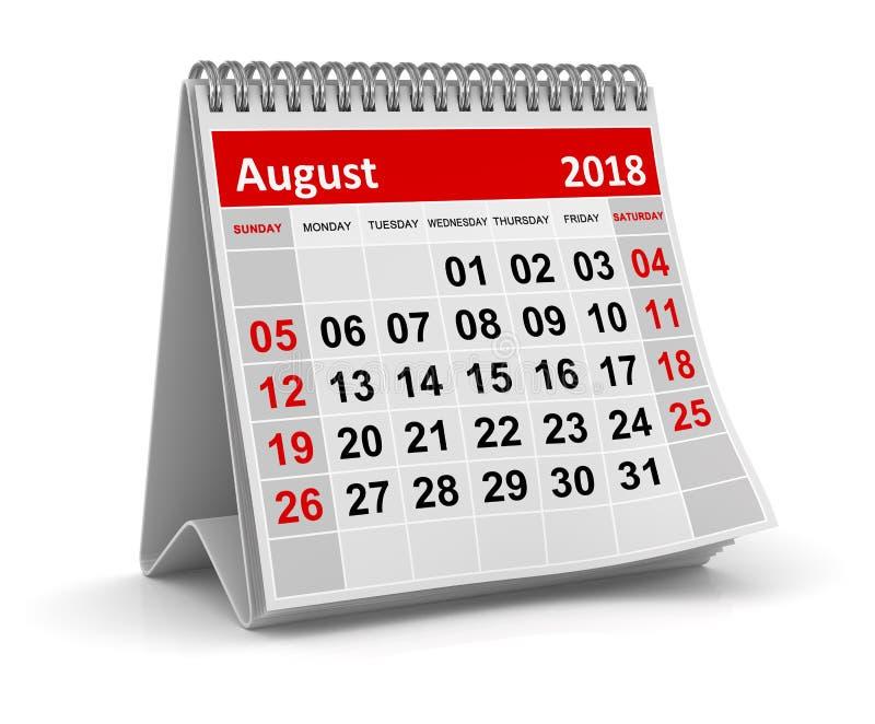 Août 2018 - calendrier illustration libre de droits