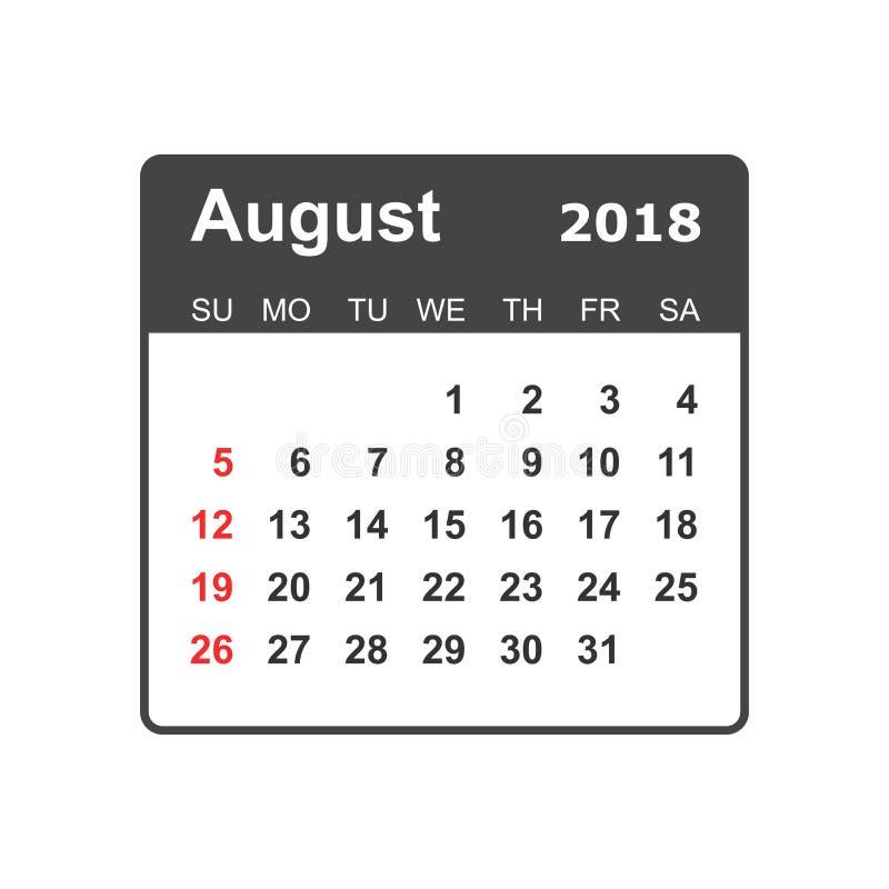 Août 2018 calendrier Calibre de conception de planificateur de calendrier Sta de semaine illustration stock