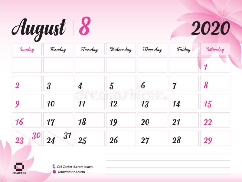 Août 2020 calibre d'année, vecteur du calendrier 2020, conception de calendrier de bureau, concept rose de fleur pour des cosméti illustration de vecteur