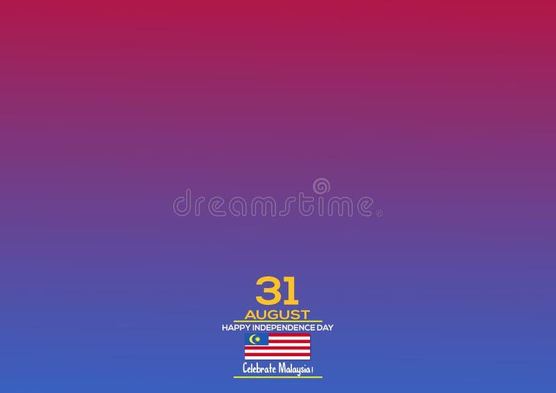 31 août - dirigez la conception patriotique de Jour de la Déclaration d'Indépendance de la Malaisie d'illustration Carte de voeux illustration libre de droits