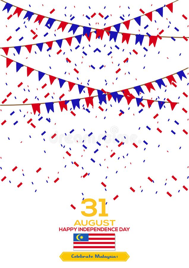31 août - dirigez la conception patriotique de Jour de la Déclaration d'Indépendance de la Malaisie d'illustration Carte de voeux illustration de vecteur