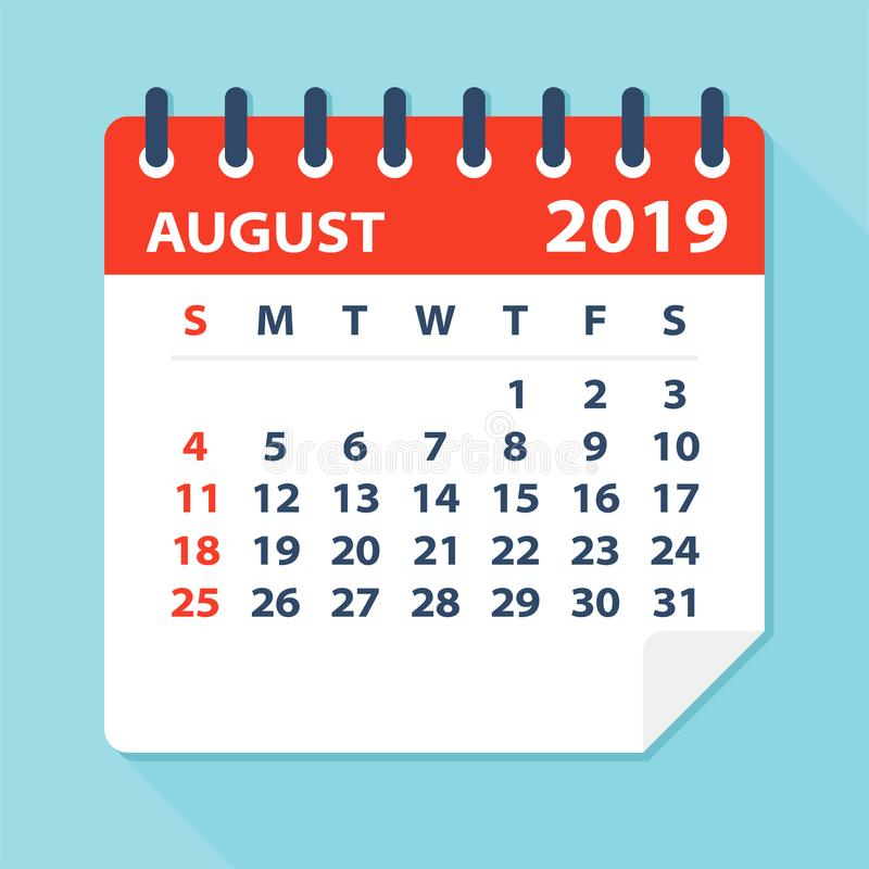 Août 2019 feuille de calendrier - illustration de vecteur illustration de vecteur
