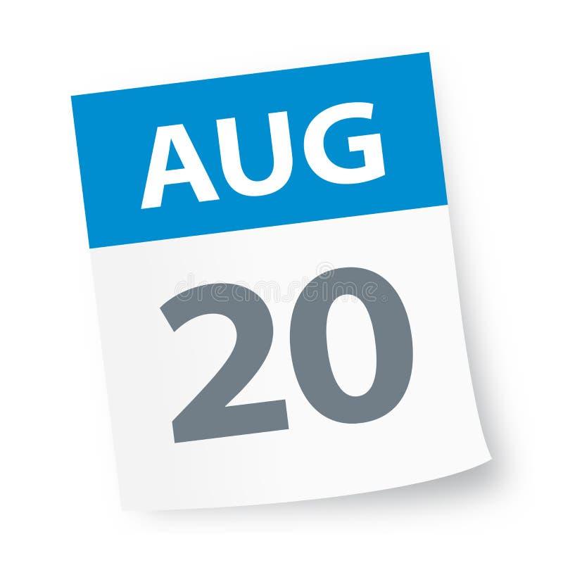 20 août - icône de calendrier illustration stock